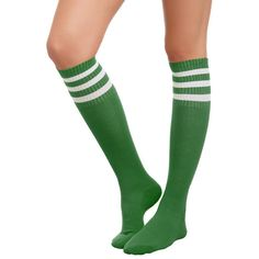 Green And White Knee-High Crew Socks Hot Topic ($4.55) ❤ liked on Polyvore featuring intimates, hosiery, socks, knee high hosiery, white hosiery, green hosiery, green crew socks and green socks