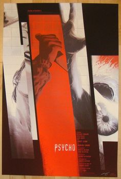 "Psycho - silkscreen movie poster (click image for more detail) Artist: Kevin Tong Venue: N/A Location: N/A Date: 2014 Edition: 350; signed and numbered Size: 24"" x 36"" Condition: Mint Notes: this silk"