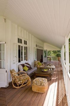 Love the wide, white veranda with French doors Style At Home, Queenslander House, Outdoor Living, Outdoor Spaces, Balcony Design, Australian Homes, Architecture, My Dream Home, Home Reno