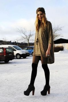 High socks with tights. Def rocking this look this fall.