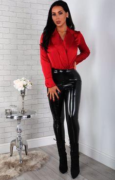 Black Lace-up Long Sleeve Bodysuit Leather Pants Outfit, Leather Dresses, Vinyl Leggings, Pvc Leggings, Black Wide Leg Trousers, Vinyl Clothing, Wet Look Leggings, Leder Outfits, Pin Up Girls