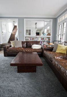 Living Room Paint Ideas With Brown Furniture 04 Brown Leather Sofa Living Room, Brown Leather Furniture, Grey And Brown Living Room, Leather Living Room Furniture, Living Room Sofa, Living Room Decor, Leather Couches, Living Rooms, Living Room Color Schemes