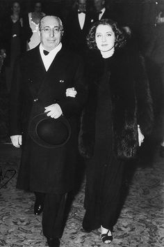 """barbarastanwyck: """"Louis B. Mayer escorting Norma Shearer at her first public appearance since husband Irving Thalberg's passing, 1936 """""""