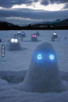 Glow sticks for eyes in snowmen