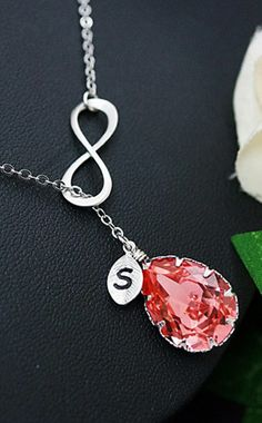 Infinity with Swarovski Crystal Personalized Initial Necklace from EarringsNation Coral Weddings