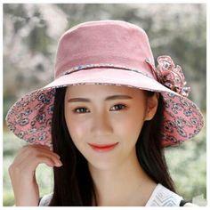 Pastoral style floral sun hat for women UV flower summer hats