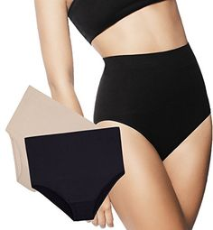670144b0d2f34f HighWaist Tummy Control Slim Panties by Zlimmy 2Pack SmallMedium Black  Beige   Visit the image link