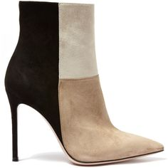 Gianvito Rossi Beige Patchwork Suede Ankle Boots ($1,160) ❤ liked on Polyvore featuring shoes, boots, ankle booties, suede bootie, high heel boots, high heel booties, pointed toe booties and suede booties
