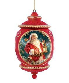 Red Santa With Lantern Porcelain Ornament #zulily #zulilyfinds