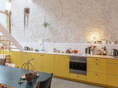 Kitchen Interior, Kitchen Design, Kitchen Ideas, Kitchen Colour Combination, Yellow Cabinets, Pink Tiles, White Brick Walls, Paint Matching, White Countertops