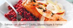 Marks & Spencer: Salmon with Beetroot Risotto, Shaved Apple and Fennel