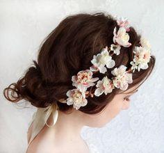 cream wedding hair accessories, ivory flower hair wreath, bridal headpiece-  SHEPHERDESS - pink bridal head piece, flower girl too ... from The Honeycombe on Etsy