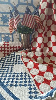 Auctions Templates & Image Hosting beautiful old patriotic quilts Old Quilts, Antique Quilts, Vintage Quilts, Small Quilts, Shabby Chic Vintage, Quilt Display, Two Color Quilts, Red And White Quilts, Quilt Of Valor