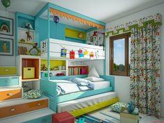 Verspieltes Kinder Bett in fröhlichen Farben