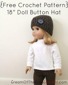 Crochet 18 Inch Doll Button Hat Pattern | Cream Of The Crop Crochet™