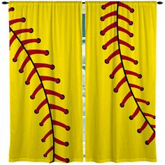 Valance Window Curtain, many colors available Softball Stitches Window Curtain, Yellow and many colors available.Softball Stitches Window Curtain, Yellow and many colors available. Softball Room Decor, Softball Decorations, Softball Crafts, Softball Shirts, Softball Mom, Softball Players, Fastpitch Softball, Lacrosse, Softball Stuff