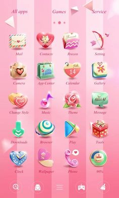 Valentine's DayGOLauncherTheme- screenshot Android Smartphone, Android Apps, App Design, Icon Design, Mobile Icon, App Drawer, Application Design, Art Icon, Ui Ux