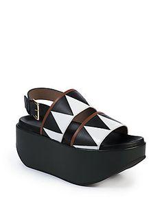 Marni Geometric Leather Platform Sandals