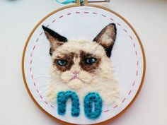 Grumpy Cat says No. || Feelin Stitchy (Great embroidery blog!)