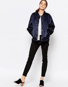 Image 4 of Ganni Quilted Bomber Jacket in Satin