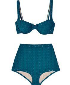 Teal knit bikini by Lover. #swimsuit #blue