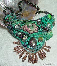 MEDITERRANEAN WATERS Shibori Bead Embroidered Necklace by 4uidzne, $475.00