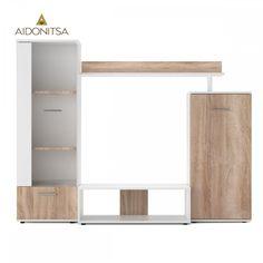 Σύνθεση TV με γυάλινη πόρτα και 1 ντουλάπια. Από την Alphab2b.gr Kos, Shelving, Entryway, Living Room, Decoration, Furniture, Home Decor, Shelves, Entrance