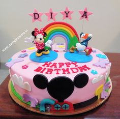 Homemade Eggless 3D/Custom Disney Mickey and Minnie club house theme birthday cake for girl at Aundh, Pune