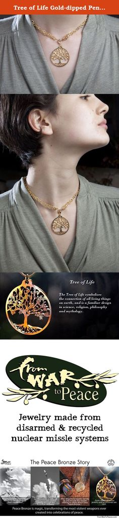 "Tree of Life Gold-dipped Pendant Necklace on 18-36"" Gold Plated Cable Chain. The Tree of Life symbolizes the connection of all living things on earth, and is a familiar design in science, religion, philosophy, and mythology. The Book of Genesis tells us that the Tree of Life has its origins in the Garden of Eden at the instance of life's birth. Our Tree of Life is drawn from an original design by Mary Rose O'Leary. From War to Peace turns weapons meant to destroy us into art meant to…"