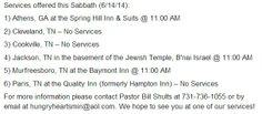 Hungry Hearts Ministries Scheduled Services for this Saturday (6/14/14)!