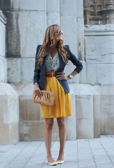 navy blazer + yellow pleated skirt