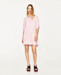 Shirt Dress With Frill Mini