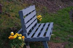 lovely garden bench made from an old wood shipping pallet