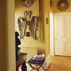 Wooden angel wings as wall decor