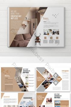 simple style decoration book design Book Design Templates, Fashion Design Template, Leaflet Design, Web Design, Layout Design, Brochure Cover Design, Graphic Design Brochure, Brochure Design Inspiration, Brochure Layout