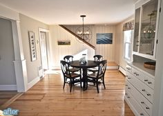 SoPo Cottage: Dining Room and Foyer: Before and After Knotty Pine Paneling renovation Wood Paneling Knotty Pine Paneling, Knotty Pine Walls, Home Renovation, Home Remodeling, Paneling Makeover, Paneling Ideas, Paneling Remodel, Cottage Dining Rooms, Houses