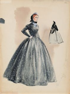 """Walter Plunkett costume sketch for Agnes Moorehead from """"Raintree County""""."""