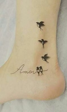 80 Amazing Female Foot Tattoos for Inspiration Bird Tattoos For Women, Small Bird Tattoos, Tattoos For Lovers, Little Bird Tattoos, Mini Tattoos, Body Art Tattoos, Wrist Tattoos, Mommy Tattoos, Family Tattoos