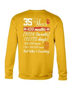 35 Year Anniversary 35th WeddingT-Shirt - Gold wedding themees, wedding rung, little wedding ideas #weddingphotographer #weddingstyle #weddingflowers, back to school, aesthetic wallpaper, y2k fashion Wedding Styles, Wedding Ideas, Wedding Invitation Kits, Crew Neck Sweatshirt, T Shirt, Print Store, Gold Wedding, Aesthetic Wallpapers, Back To School