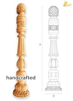 Wooden Staircase Railing, Wooden Stairs, Railings, Hand Railing, Wood Balusters, Front Door Design Wood, Door Gate Design, Stair Posts, Newel Posts