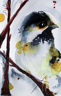 Original Watercolor Painting Chickadee Bird Art by dawndermanart