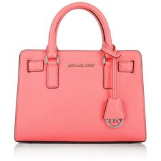 MICHAEL Michael Kors Dillon TZ SM Satchel Coral  Bag ($255) ❤ liked on Polyvore featuring bags, handbags, red, michael kors satchel, michael kors purses, coral handbag, red satchel purse and pocket purse