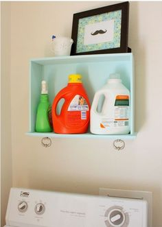 Repurpose old drawers.Laundry Room Shelf - made from a painted drawer. Functional, and I like the drawer hardware, makes for great decoration & useful for hanging small things (an extra set of keys, perhaps)! Old Dresser Drawers, Painted Drawers, Broken Dresser, Laundry Room Shelves, Laundry Storage, Garage Storage, Laundry Organizer, Laundry Rooms, Do It Yourself Organization