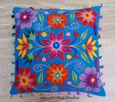 Fundas de almohada bordado peruano mano flores ovejas y alpaca lana 16 x 16 a mano azul almohada