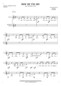 How Do You Do! sheet music by Roxette. From album Tourism (1992). Part: Notes, lyrics and chords for vocal with accompaniment.