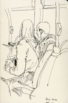 : Bus home June 2015 Bus home June 2015 Figure Sketching, Urban Sketching, Figure Drawing, Painting & Drawing, Drawing Sketches, Pencil Drawings, Art Drawings, Drawing Ideas, Croquis Drawing
