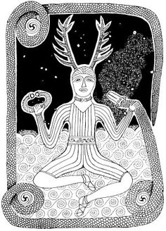 Mark Butervaugh's Depiction of Cernunnos and the season's night stars.