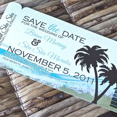 Deposit - Boarding Pass Invitation or Save the Date  (Abstract Beach Design). $20.00, via Etsy. Love this 2