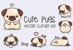 Premium Vector Clipart - Kawaii Pugs - Pugs lindos Set de imágenes prediseñadas - vectores de alta calidad - descarga inmediata - imágenes prediseñadas Kawaii