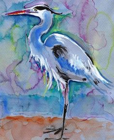 Great Blue Heron Watercolor Painting Print, Artist-Signed